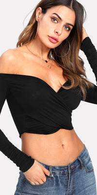 Bardot Cross Over Crop Tee