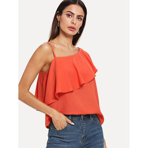 Asymmetrical Neck Flounce Trim Top