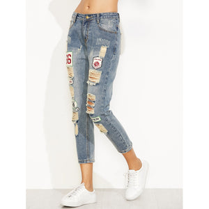 Blue Distressed Ripped Embroidered Patch Jeans
