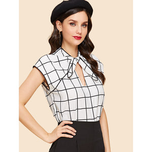 Bow Front Grid Print Blouse