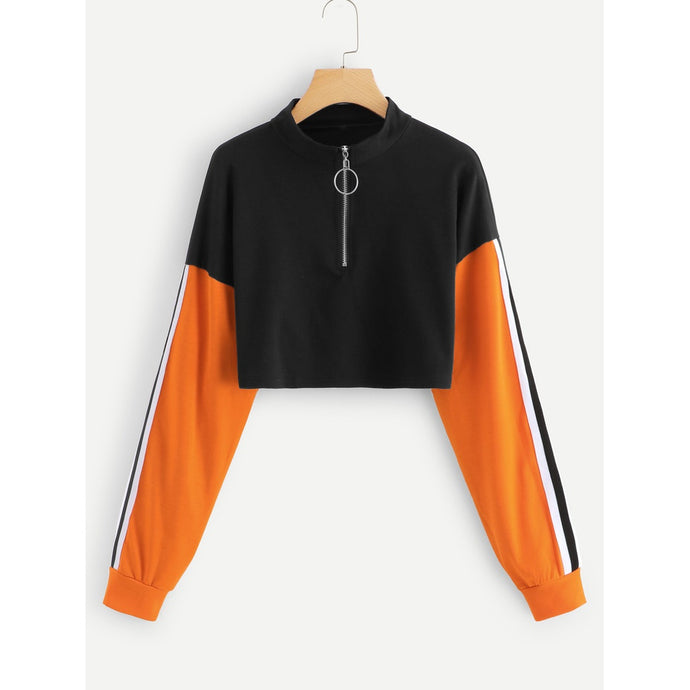Striped Tape Sleeve Colorblock Sweatshirt