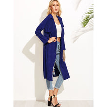 Load image into Gallery viewer, Brown Suede Self Tie Duster Coat