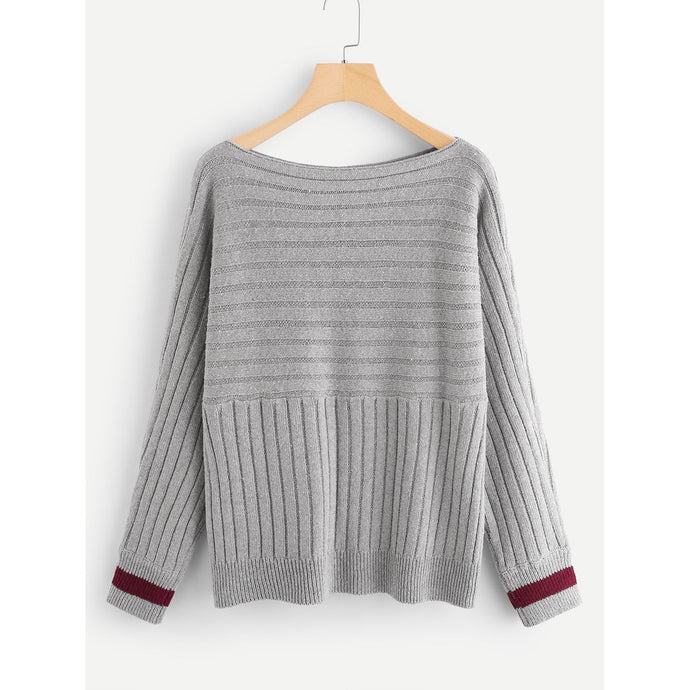 Striped Cuff Rib Knit Sweater