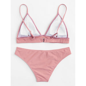 Adjustable Strap Triangle Bikini Set