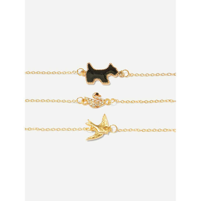 Swan & Bird Detail Bracelet Set 3pcs