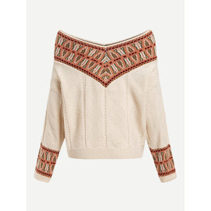 V Neck Geo Pattern Sweater