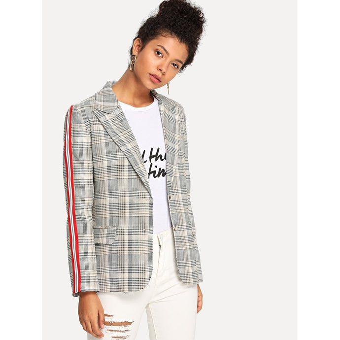 Tape Detail Plaid Blazer