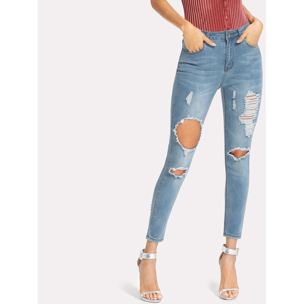 Bleached Wash Ripped Crop Jeans