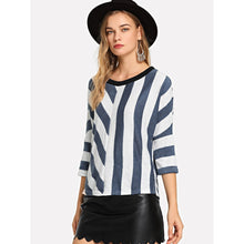 Load image into Gallery viewer, Asymmetric Striped Sweater