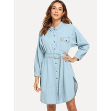 Load image into Gallery viewer, Belted Split Denim Shirt Dress