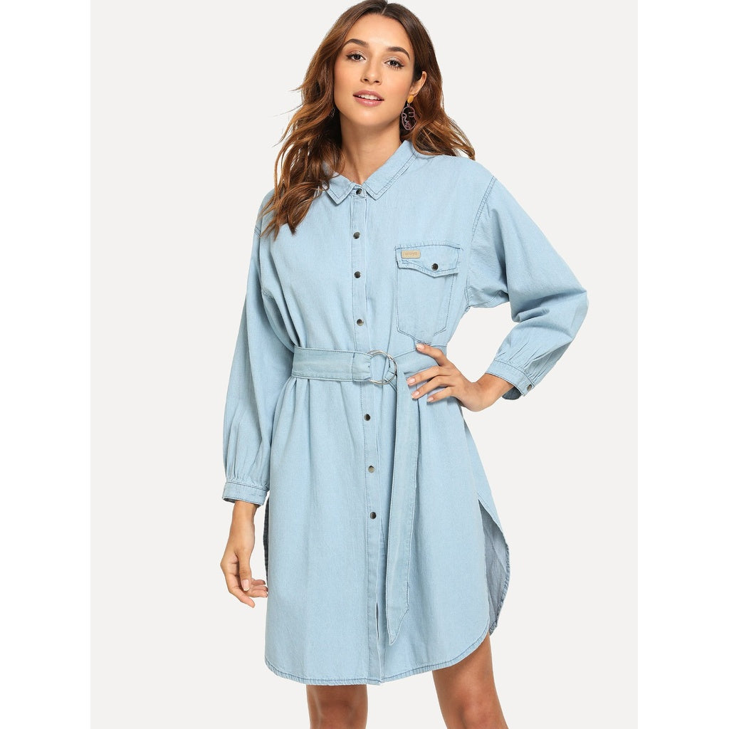 Belted Split Denim Shirt Dress