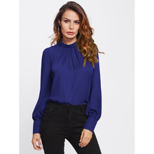 Load image into Gallery viewer, Button Keyhole Back Puff Sleeve Chiffon Blouse