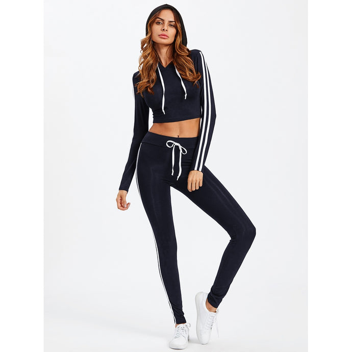 Striped Side Crop Hoodie With Sweatpants Set