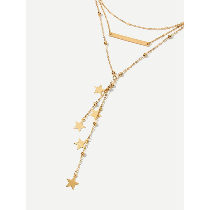 Star & Bar Detail Layered Chain Necklace