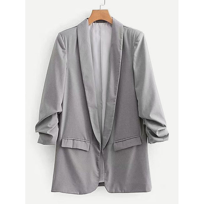 Solid Shirred Sleeve Blazer