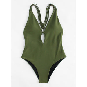 Backless Woven Swimsuit