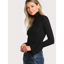 Load image into Gallery viewer, Bell Cuff Rib Knit Fitted Tee
