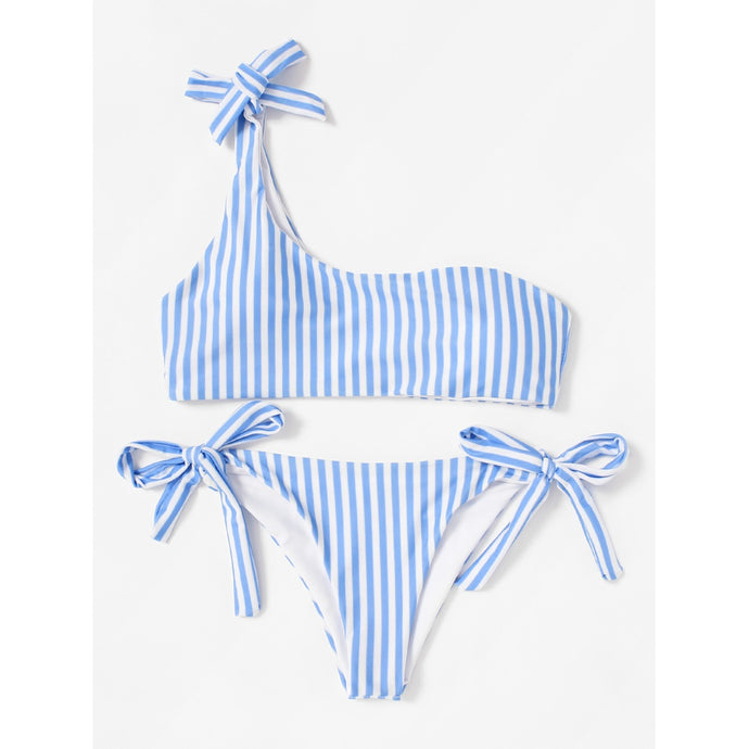 Tie Side One Shoulder Striped Bikini Set