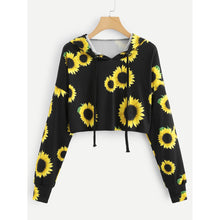 Load image into Gallery viewer, Sunflower Print Crop Hoodie