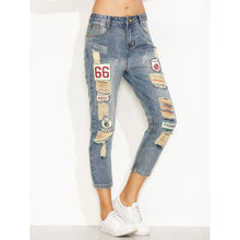 Load image into Gallery viewer, Blue Distressed Ripped Embroidered Patch Jeans