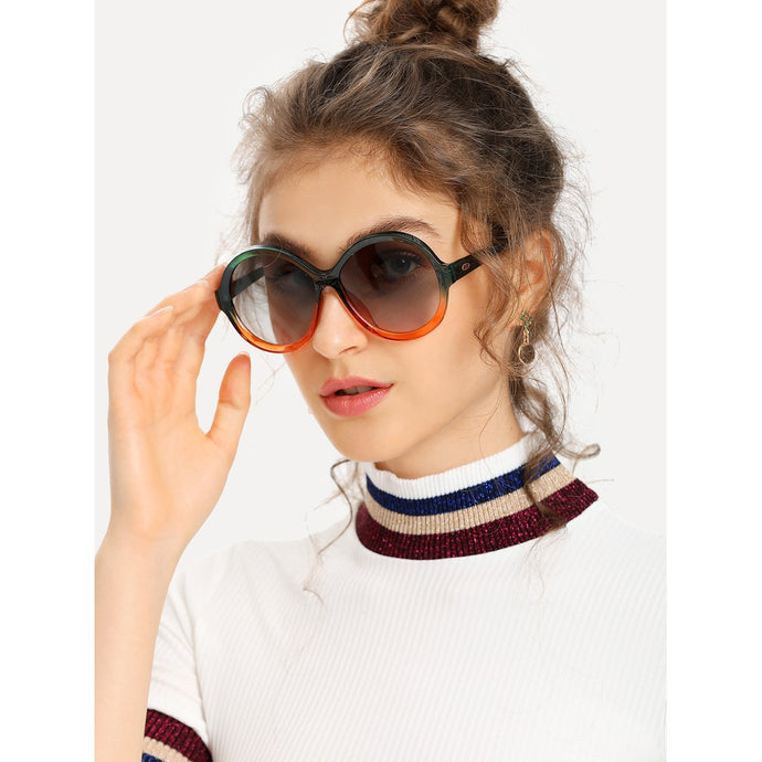 Two Tone Frame Round Lens Sunglasses