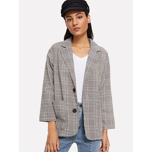 Tartan Plaid Dual Pocket Blazer