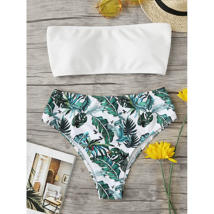 Tropical Print Bandeau Bikini Set