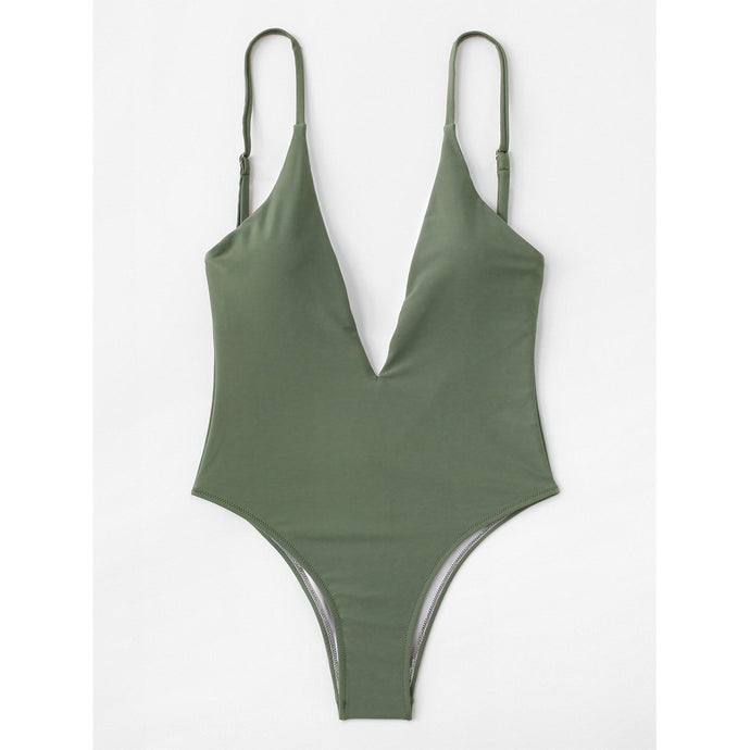 V-Plunge Plain Swimsuit