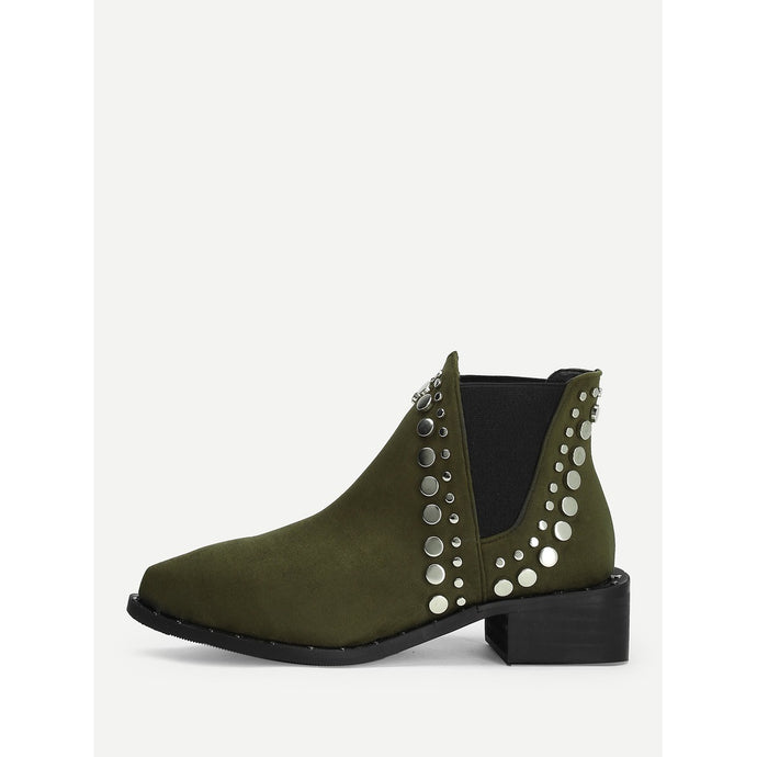 Studded Panel Chelsea Ankle Boots