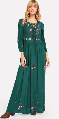 Plus Lace Up Front Flower Embroidered Maxi Dress