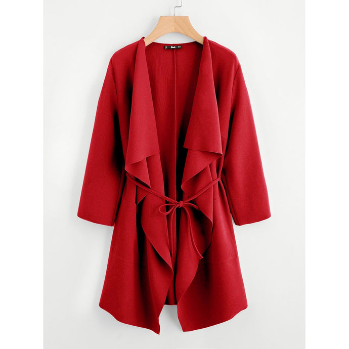 Waterfall Collar Pocket Front Wrap Coat