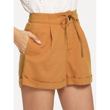 Load image into Gallery viewer, Button Fly Tie Waist Rolled Hem Shorts