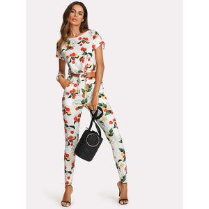 Botanical Print Knot Front Top And Pants Set
