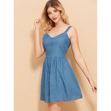 Load image into Gallery viewer, Button Up Fit & Flare Denim Dress