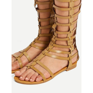 Back Zipper Caged Flat Sandals
