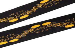 Gold on Black Thin Silk Scarf - slfb2