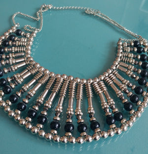 Silver Tone & Black Statement Neckalce