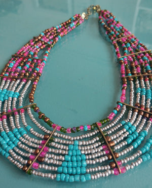 Multicolor Bead Statement Necklace
