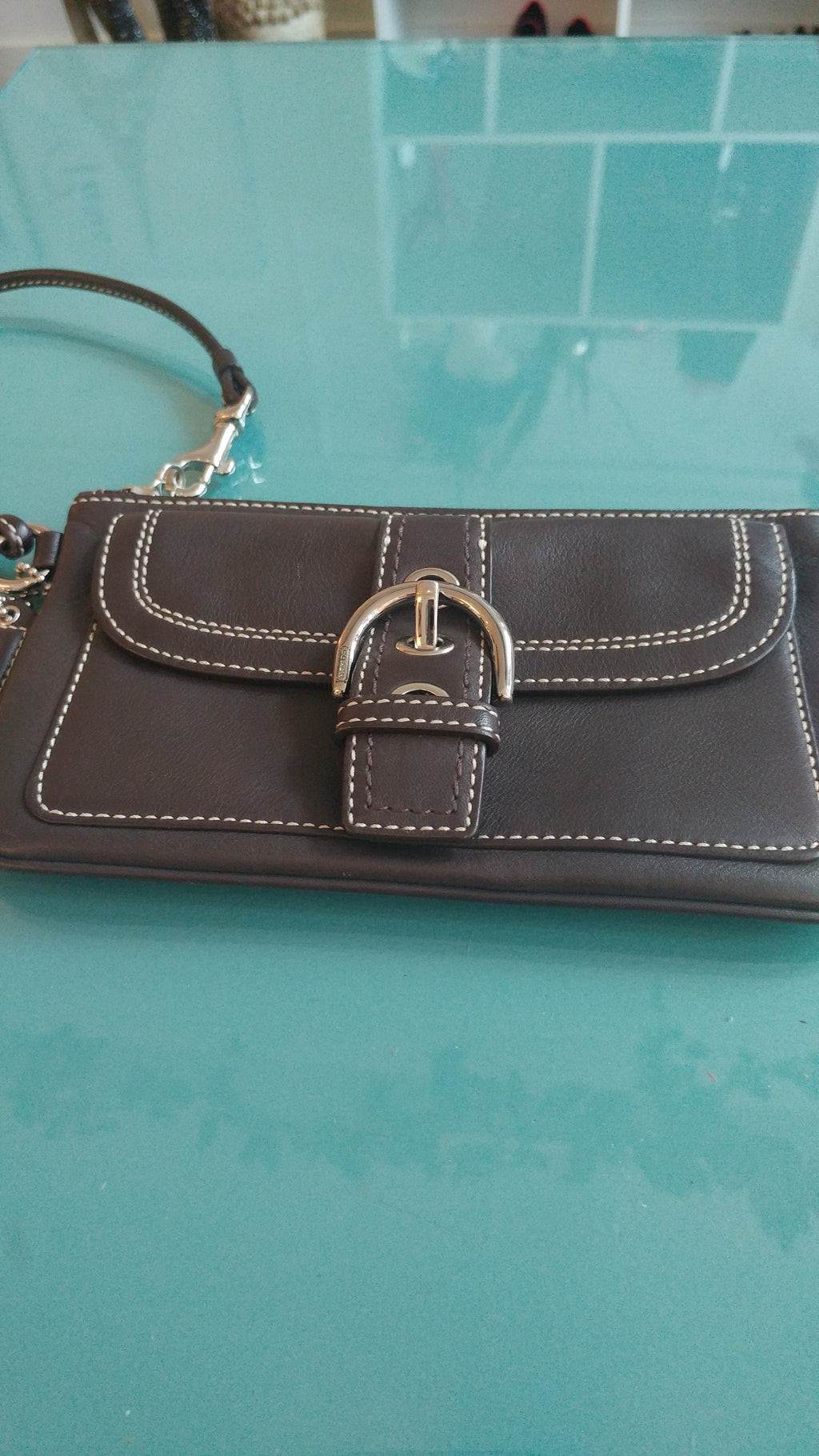 Dark Brown Coach Wristlet