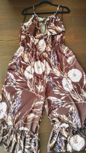 Brown floral jumpsuit Plus size, Simply Bee