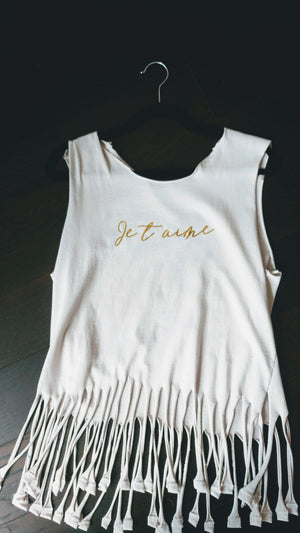 Je t'aime Tank with Fringe