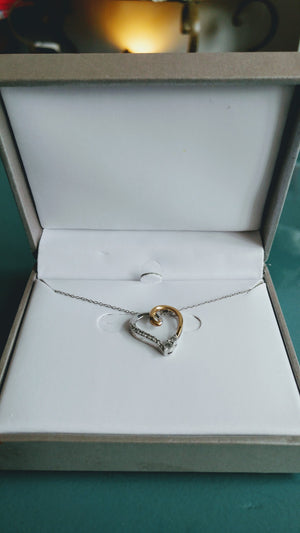 Sterling & Gold Heart Necklace with Diamonds