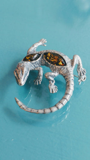 Sterling Silver Lizard Pin