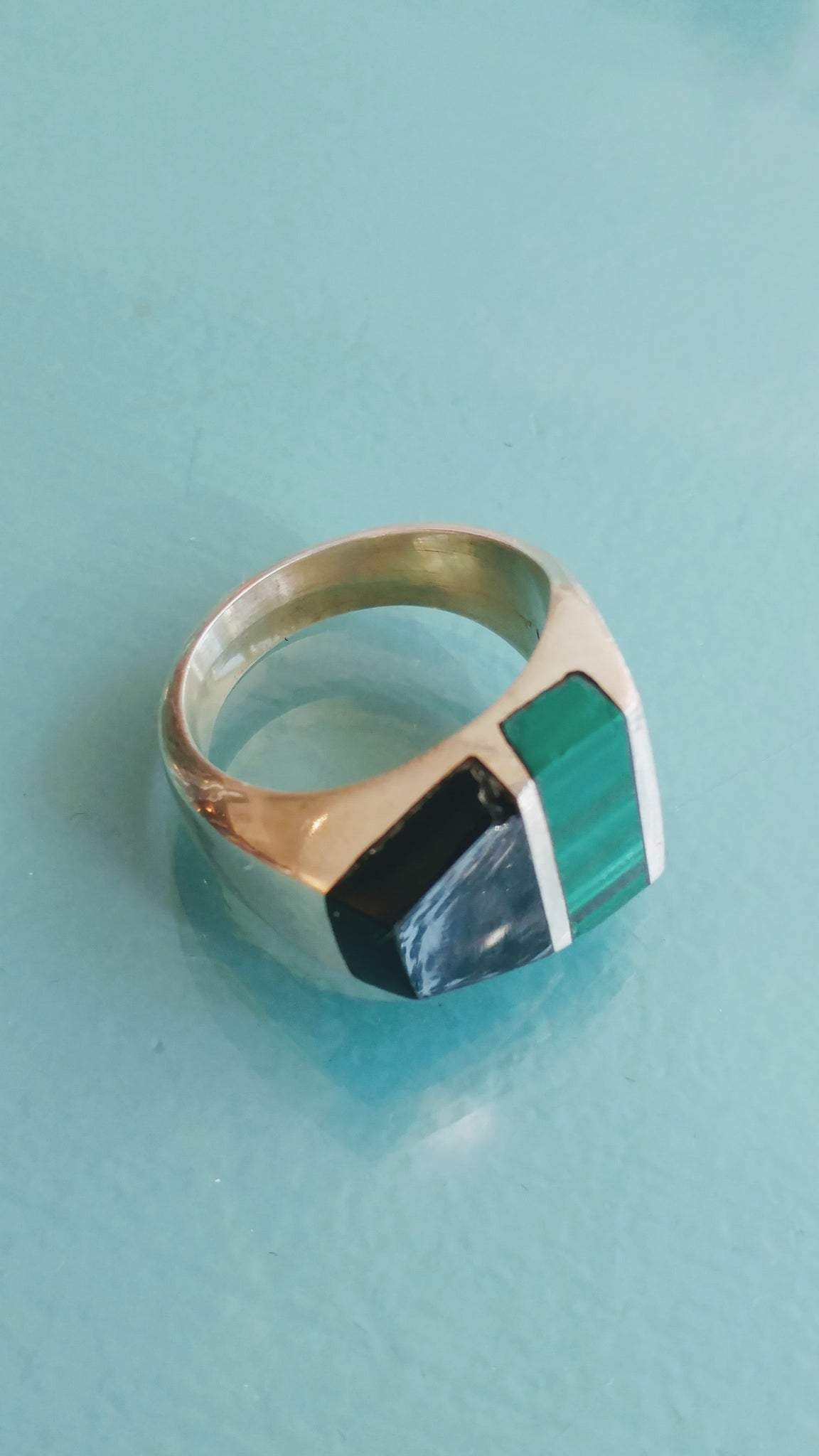 Sterling Silver, Onyx, & Malachite Ring