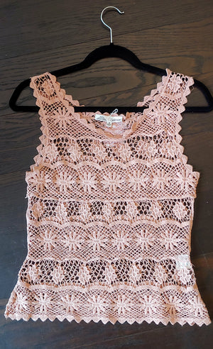 Blush Knit Solitaire Tank Top, Size S