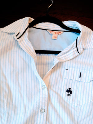 Blue & White Striped Brooks Brothers Button Up Top