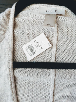 Beige Loft Zip Up Sweater