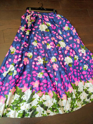 Purple & Blue Floral Mix Nouveau Maxi Skirt, size L
