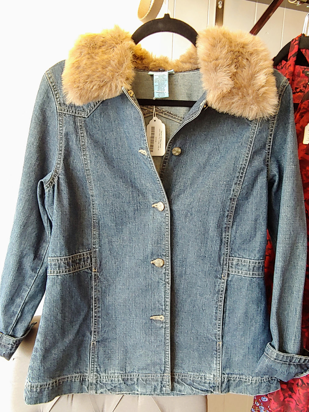 Denim SO Blue Jacket with Faux Fur Collar, size M