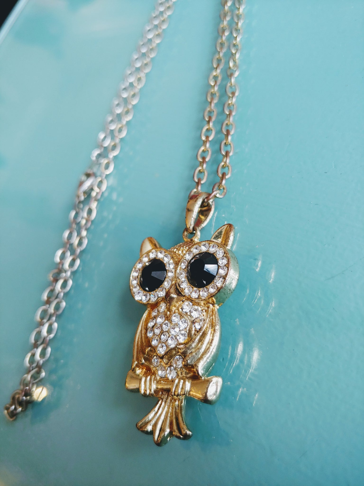 Long gold tone Owl Necklace